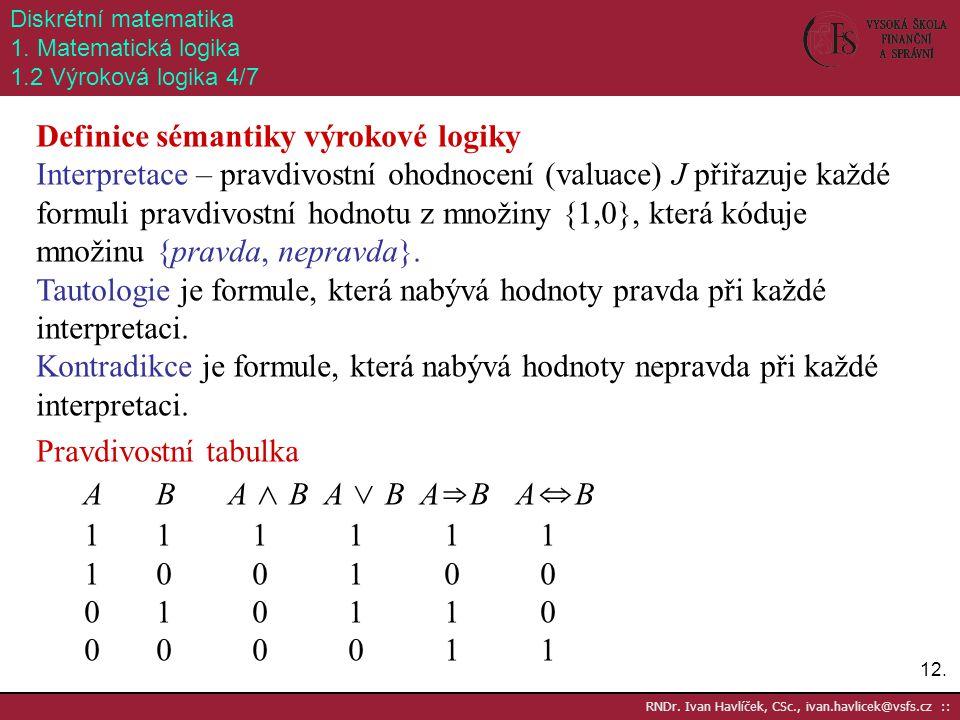 12. RNDr. Ivan Havlíček, CSc., ivan.havlicek@vsfs.cz :: Diskrétní matematika 1. Matematická logika 1.2 Výroková logika 4/7 Definice sémantiky výrokové