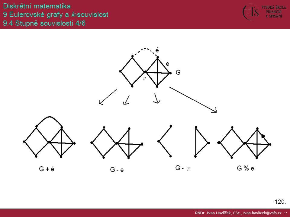 120. RNDr. Ivan Havlíček, CSc., ivan.havlicek@vsfs.cz :: Diskrétní matematika 9 Eulerovské grafy a k-souvislost 9.4 Stupně souvislosti 4/6