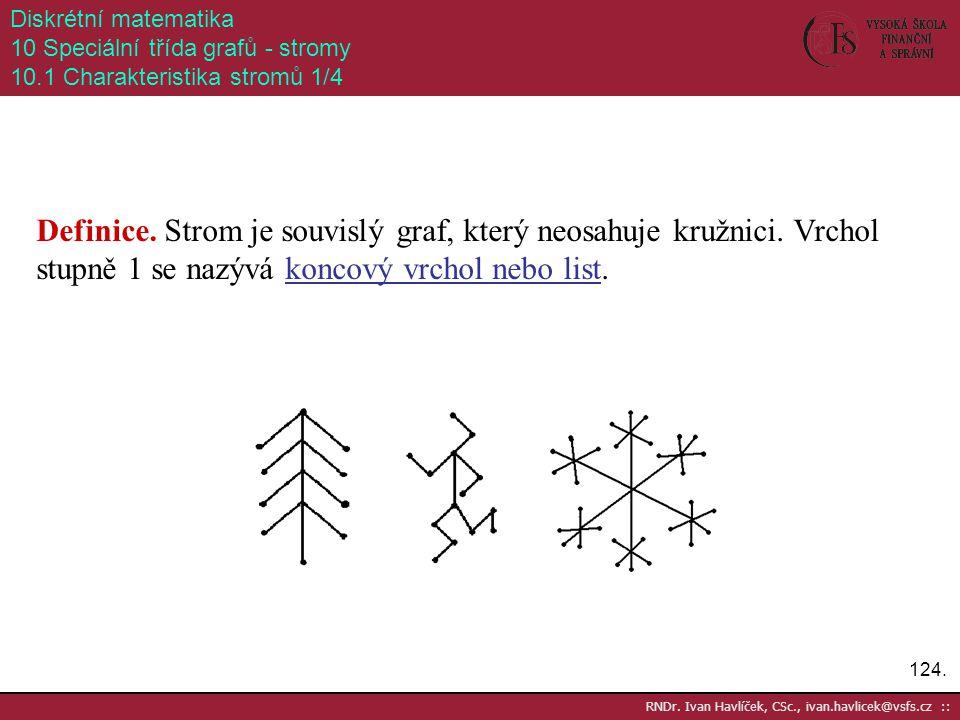 124. RNDr. Ivan Havlíček, CSc., ivan.havlicek@vsfs.cz :: Diskrétní matematika 10 Speciální třída grafů - stromy 10.1 Charakteristika stromů 1/4 Defini