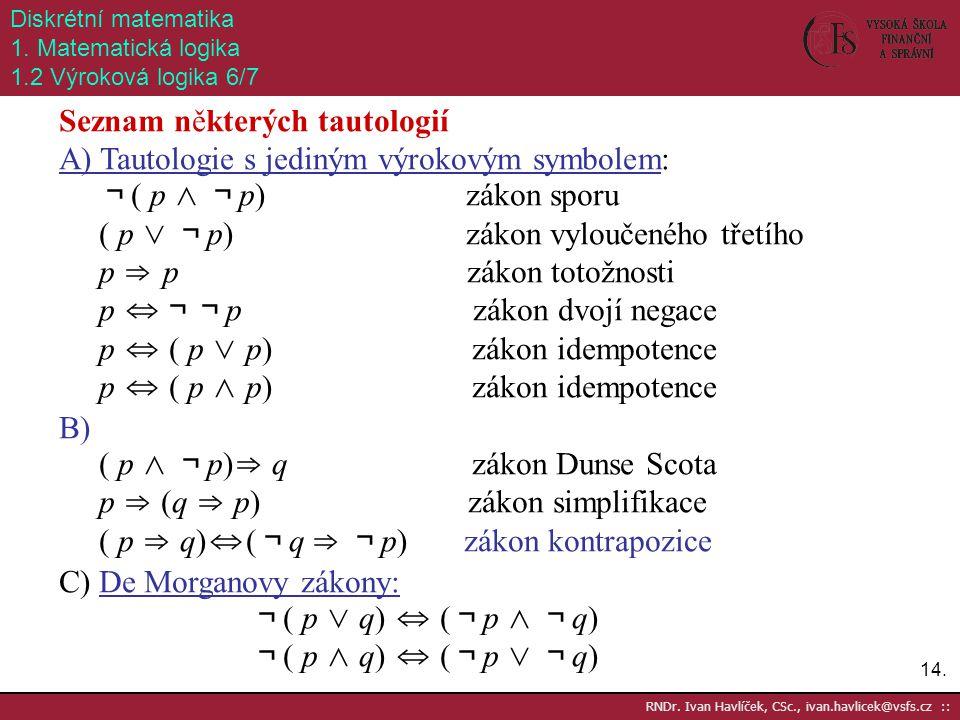 14. RNDr. Ivan Havlíček, CSc., ivan.havlicek@vsfs.cz :: Diskrétní matematika 1. Matematická logika 1.2 Výroková logika 6/7 Seznam některých tautologií