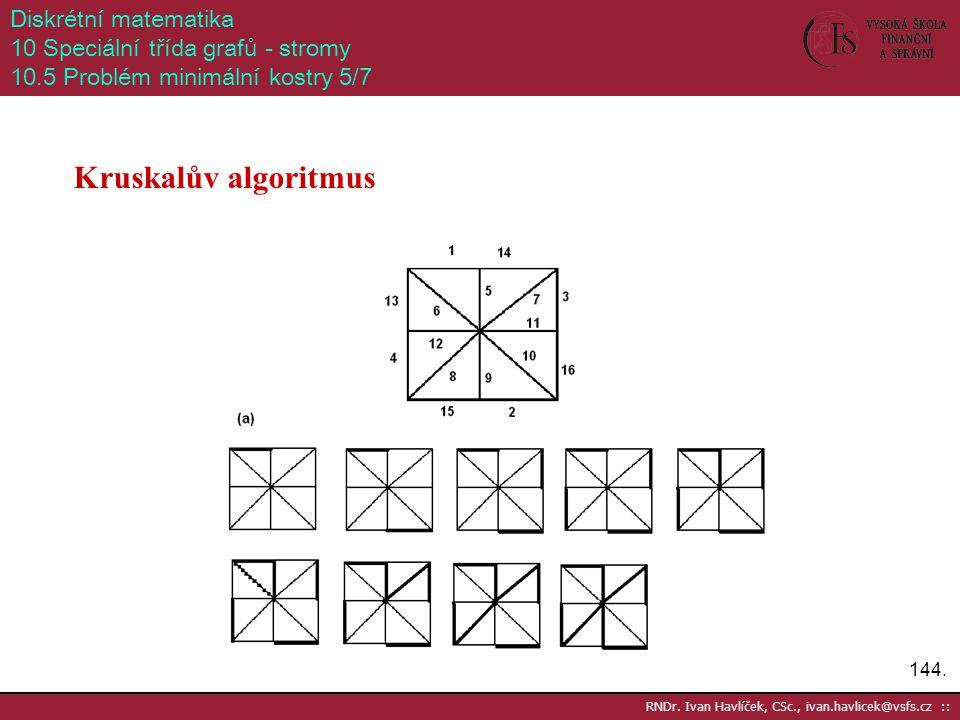 144. RNDr. Ivan Havlíček, CSc., ivan.havlicek@vsfs.cz :: Diskrétní matematika 10 Speciální třída grafů - stromy 10.5 Problém minimální kostry 5/7 Krus