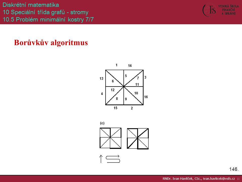146. RNDr. Ivan Havlíček, CSc., ivan.havlicek@vsfs.cz :: Diskrétní matematika 10 Speciální třída grafů - stromy 10.5 Problém minimální kostry 7/7 Borů