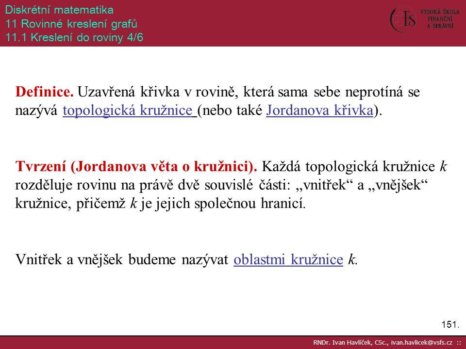 151. RNDr. Ivan Havlíček, CSc., ivan.havlicek@vsfs.cz :: Diskrétní matematika 11 Rovinné kreslení grafů 11.1 Kreslení do roviny 4/6 Definice. Uzavřená