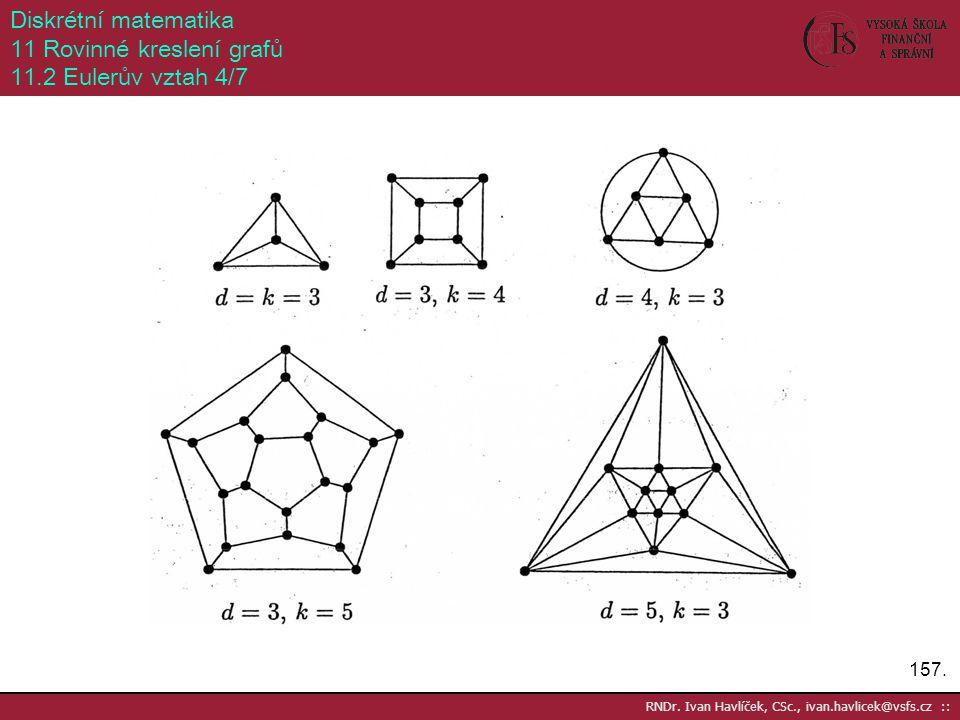 157. RNDr. Ivan Havlíček, CSc., ivan.havlicek@vsfs.cz :: Diskrétní matematika 11 Rovinné kreslení grafů 11.2 Eulerův vztah 4/7