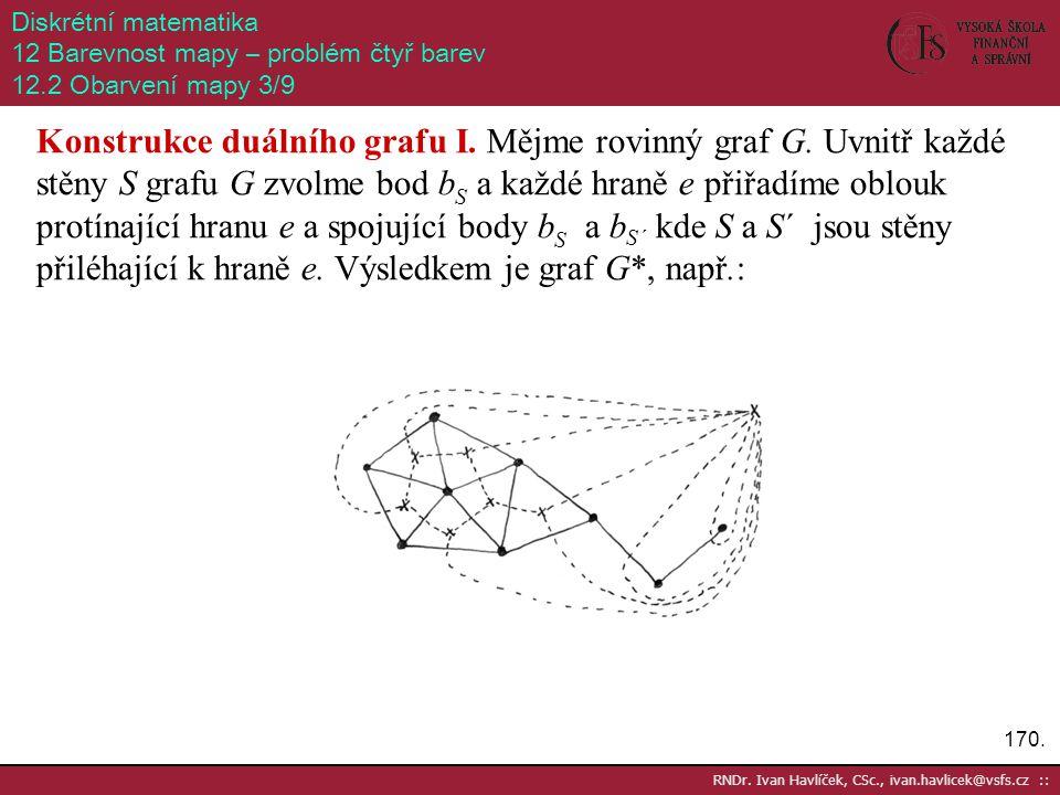 170. RNDr. Ivan Havlíček, CSc., ivan.havlicek@vsfs.cz :: Diskrétní matematika 12 Barevnost mapy – problém čtyř barev 12.2 Obarvení mapy 3/9 Konstrukce