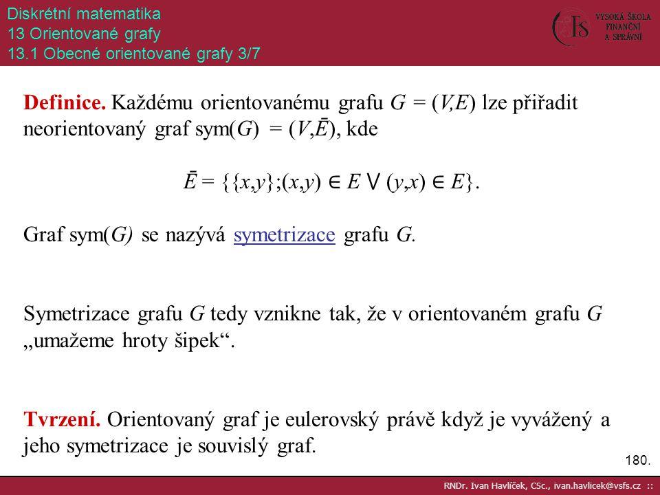 180. RNDr. Ivan Havlíček, CSc., ivan.havlicek@vsfs.cz :: Diskrétní matematika 13 Orientované grafy 13.1 Obecné orientované grafy 3/7 Definice. Každému