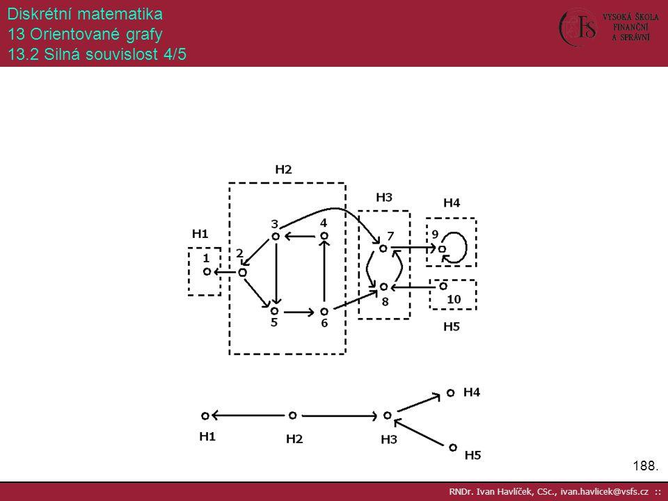 188. RNDr. Ivan Havlíček, CSc., ivan.havlicek@vsfs.cz :: Diskrétní matematika 13 Orientované grafy 13.2 Silná souvislost 4/5