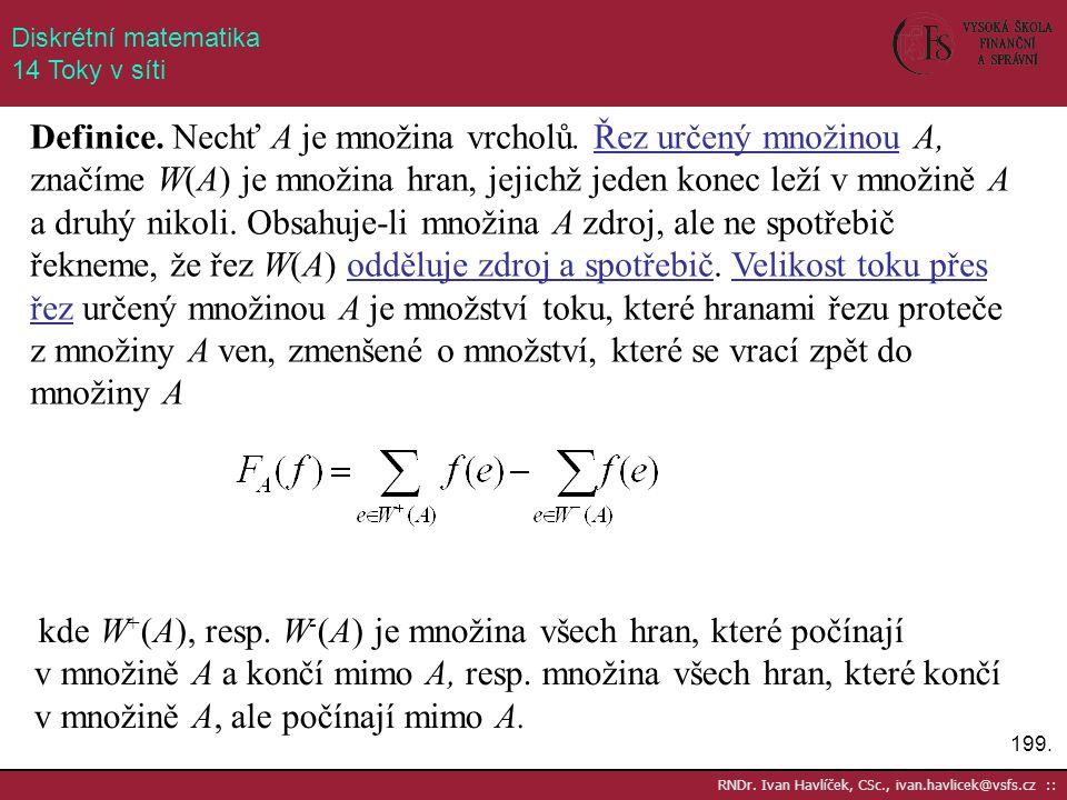 199. RNDr. Ivan Havlíček, CSc., ivan.havlicek@vsfs.cz :: Diskrétní matematika 14 Toky v síti Definice. Nechť A je množina vrcholů. Řez určený množinou