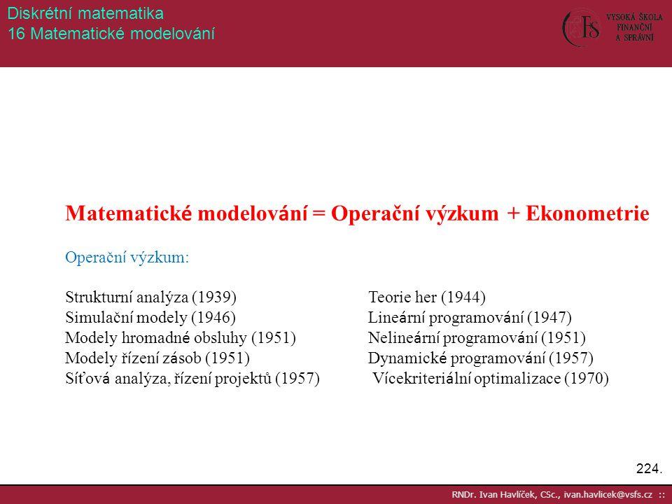 224. RNDr. Ivan Havlíček, CSc., ivan.havlicek@vsfs.cz :: Diskrétní matematika 16 Matematické modelování Matematick é modelov á n í = Operačn í výzkum