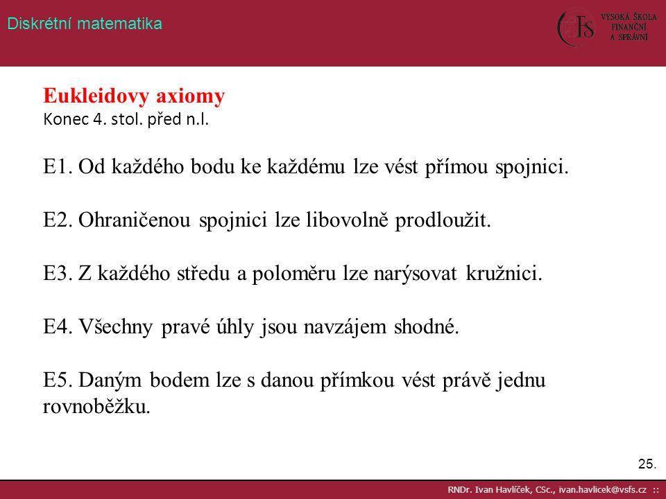 25. RNDr. Ivan Havlíček, CSc., ivan.havlicek@vsfs.cz :: Diskrétní matematika Eukleidovy axiomy Konec 4. stol. před n.l. E1. Od každého bodu ke každému
