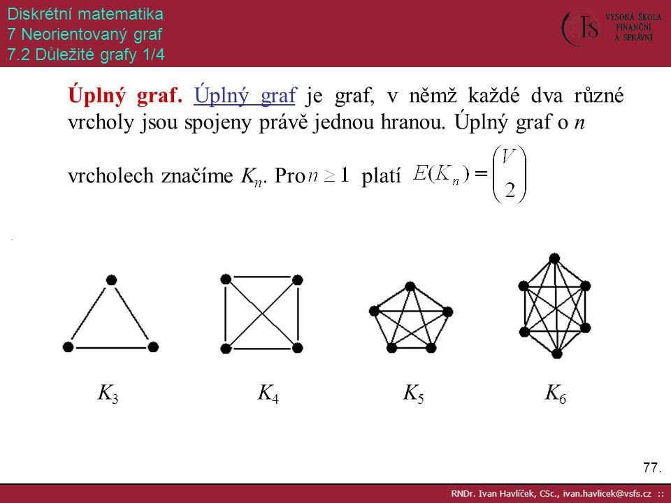 77. RNDr. Ivan Havlíček, CSc., ivan.havlicek@vsfs.cz :: Diskrétní matematika 7 Neorientovaný graf 7.2 Důležité grafy 1/4 Úplný graf. Úplný graf je gra