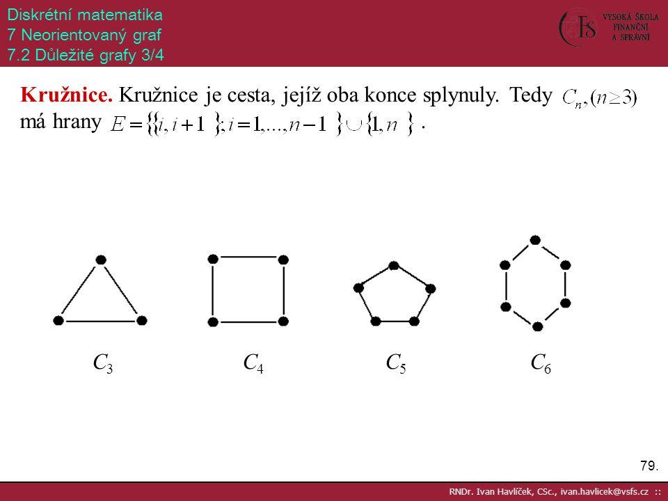 79. RNDr. Ivan Havlíček, CSc., ivan.havlicek@vsfs.cz :: Diskrétní matematika 7 Neorientovaný graf 7.2 Důležité grafy 3/4 Kružnice. Kružnice je cesta,