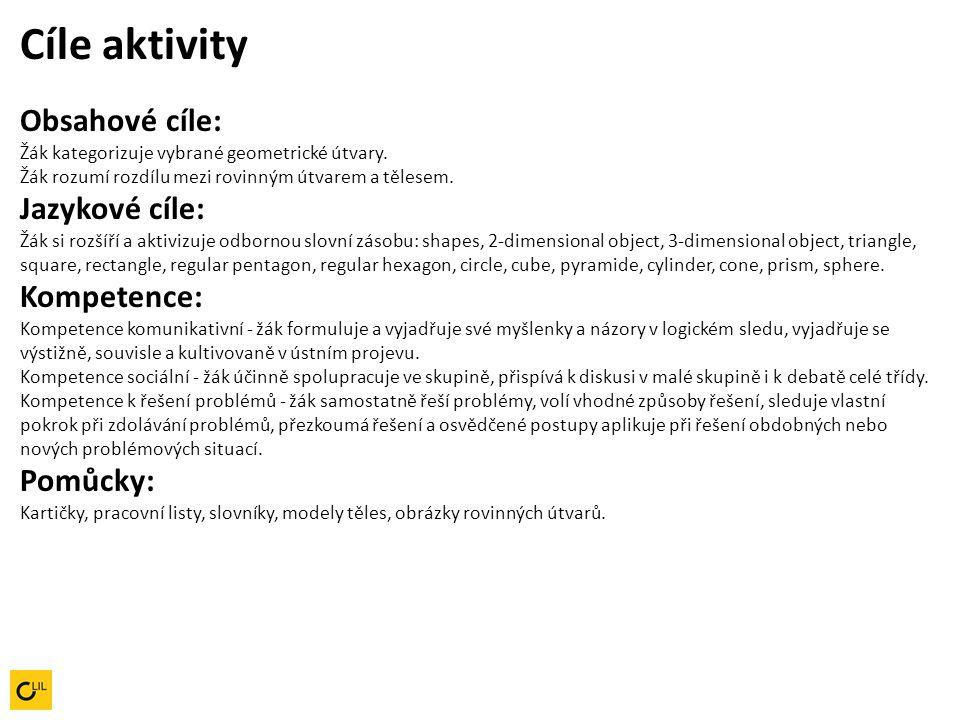 Cíle aktivity Obsahové cíle: Žák kategorizuje vybrané geometrické útvary.