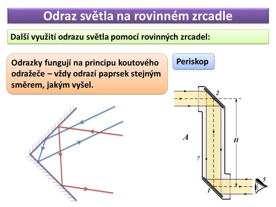 Odraz světla na rovinném zrcadle Další využití odrazu světla pomocí rovinných zrcadel: Periskop Odrazky fungují na principu koutového odražeče – vždy