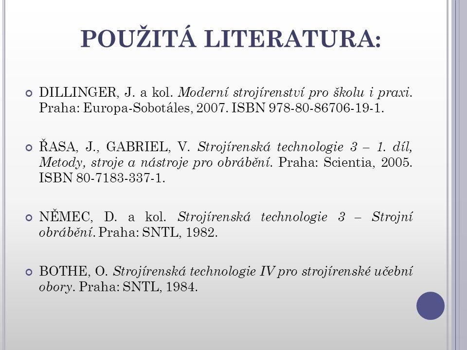 POUŽITÁ LITERATURA: DILLINGER, J.a kol. Moderní strojírenství pro školu i praxi.
