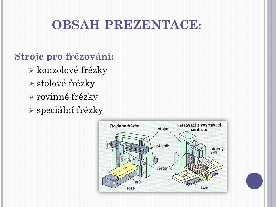 OBSAH PREZENTACE : Stroje pro frézování:  konzolové frézky  stolové frézky  rovinné frézky  speciální frézky