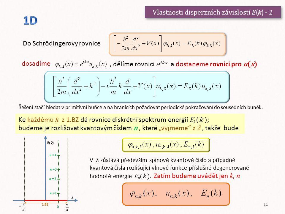 Vlastnosti disperzních závislostí E (k) - 1 Do Schrödingerovy rovnice dosadíme, dělíme rovnici e i k x a dostaneme rovnici pro u(x) Řešení stačí hleda