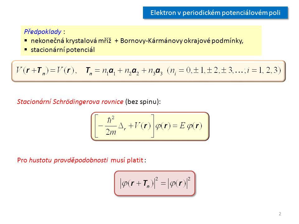 Elektron v periodickém potenciálovém poli Předpoklady :  nekonečná krystalová mříž + Bornovy-Kármánovy okrajové podmínky,  stacionární potenciál Sta