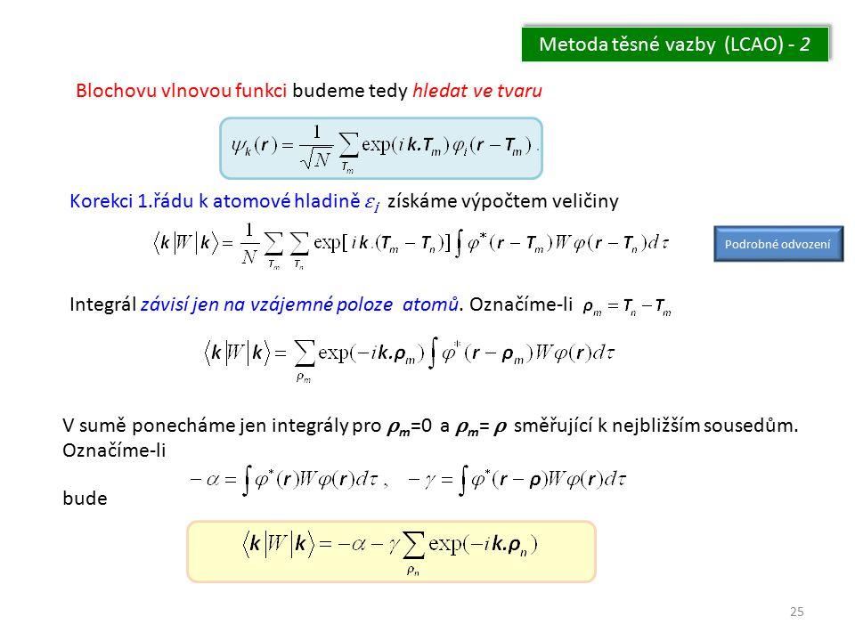25 Metoda těsné vazby (LCAO) - 2 Blochovu vlnovou funkci budeme tedy hledat ve tvaru Korekci 1.řádu k atomové hladině ε i získáme výpočtem veličiny In