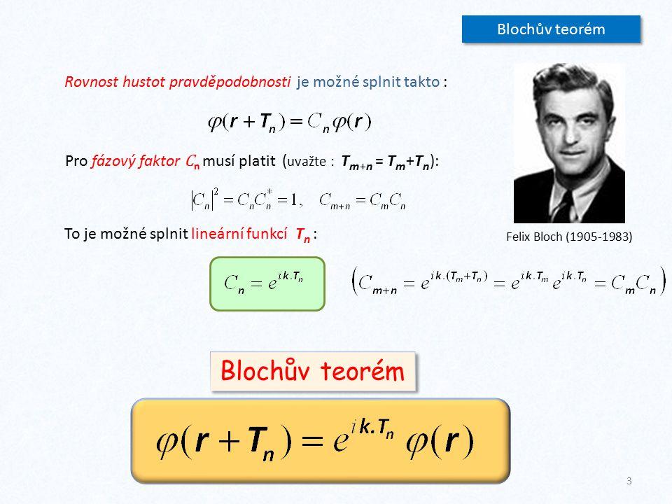 Blochův teorém Rovnost hustot pravděpodobnosti je možné splnit takto : Pro fázový faktor C n musí platit ( uvažte : T m+n = T m +T n ): To je možné sp