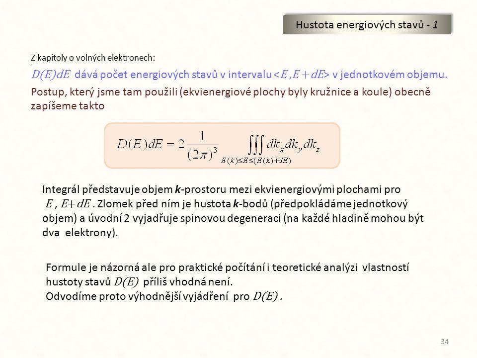 34 Hustota energiových stavů - 1 Z kapitoly o volných elektronech : ? D(E)dE dává počet energiových stavů v intervalu v jednotkovém objemu. Postup, kt
