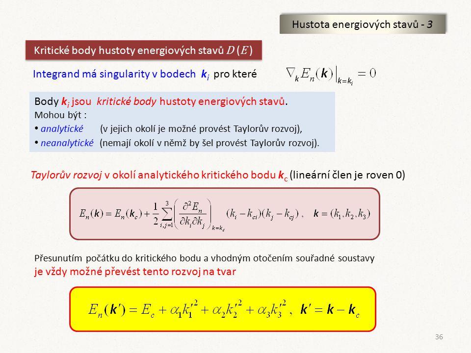 36 Hustota energiových stavů - 3 Kritické body hustoty energiových stavů D ( E ) Integrand má singularity v bodech k i pro které Body k i jsou kritick