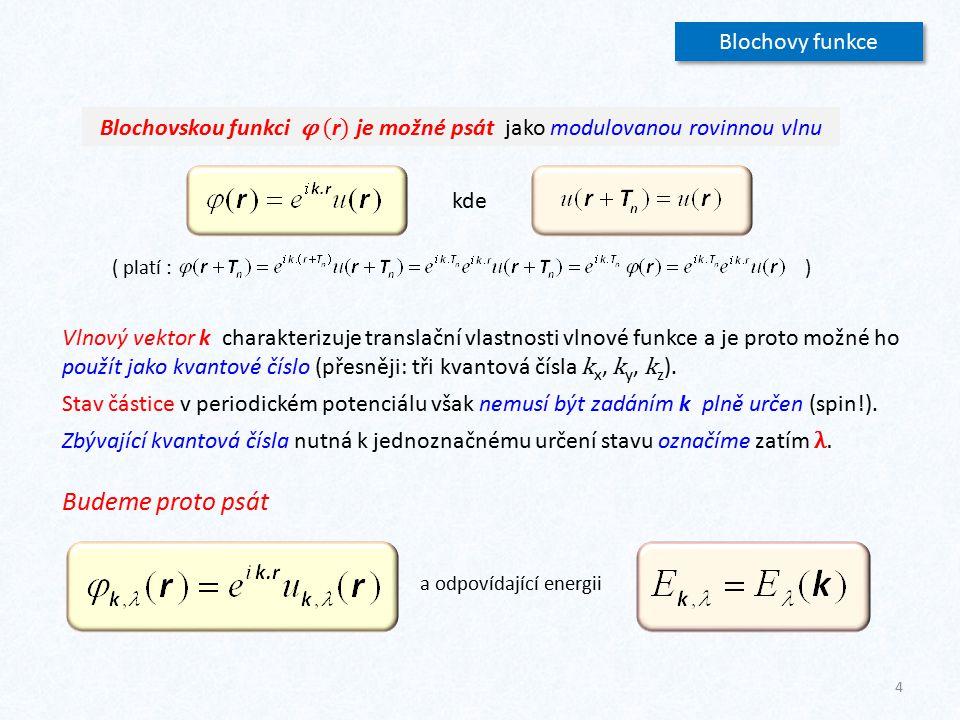 25 Metoda těsné vazby (LCAO) - 2 Blochovu vlnovou funkci budeme tedy hledat ve tvaru Korekci 1.řádu k atomové hladině ε i získáme výpočtem veličiny Integrál závisí jen na vzájemné poloze atomů.