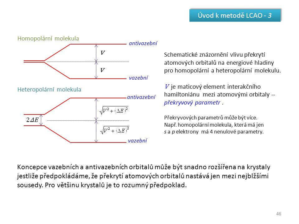 46 Úvod k metodě LCAO - 3 v v 2ΔE2ΔE Homopolární molekula Heteropolární molekula vazební antivazební Schematické znázornění vlivu překrytí atomových o