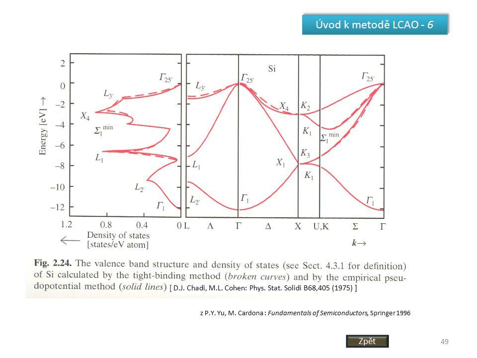 49 Úvod k metodě LCAO - 6 [ D.J. Chadi, M.L. Cohen: Phys. Stat. Solidi B68,405 (1975) ] z P.Y. Yu, M. Cardona : Fundamentals of Semiconductors, Spring
