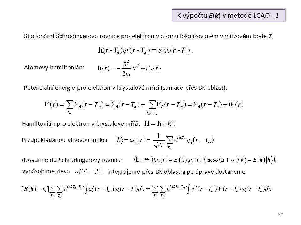 50 K výpočtu E(k) v metodě LCAO - 1 Stacionární Schrödingerova rovnice pro elektron v atomu lokalizovaném v mřížovém bodě T n Atomový hamiltonián: Pot