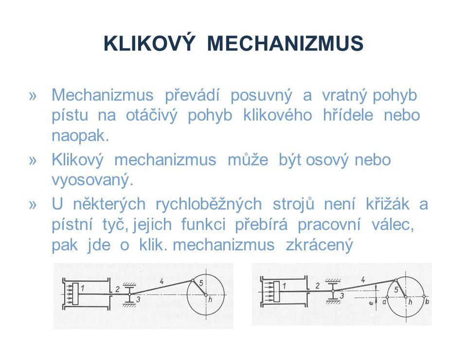 KLIKOVÝ MECHANIZMUS »Mechanizmus převádí posuvný a vratný pohyb pístu na otáčivý pohyb klikového hřídele nebo naopak. »Klikový mechanizmus může být os