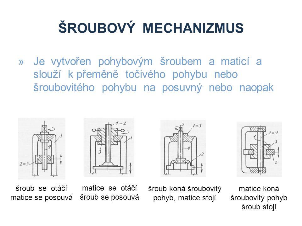 ŠROUBOVÝ MECHANIZMUS »Je vytvořen pohybovým šroubem a maticí a slouží k přeměně točivého pohybu nebo šroubovitého pohybu na posuvný nebo naopak šroub