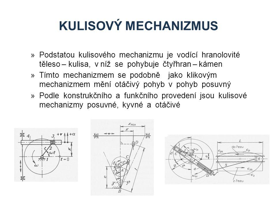 KULISOVÝ MECHANIZMUS »Podstatou kulisového mechanizmu je vodící hranolovité těleso – kulisa, v níž se pohybuje čtyřhran – kámen »Tímto mechanizmem se