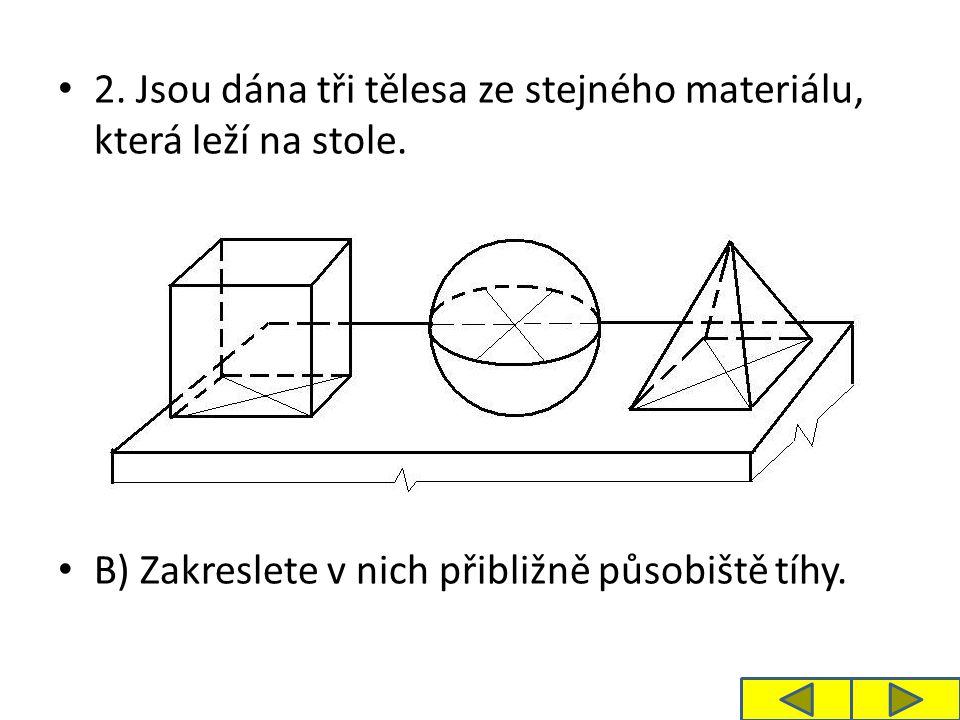 2. Jsou dána tři tělesa ze stejného materiálu, která leží na stole.