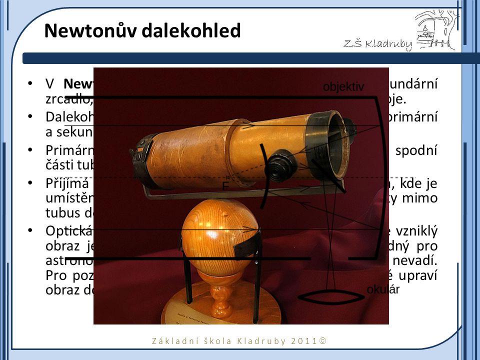 Základní škola Kladruby 2011  Newtonův dalekohled V Newtonově dalekohledu se používá rovinné sekundární zrcadlo, které odráží paprsky do okuláru na b