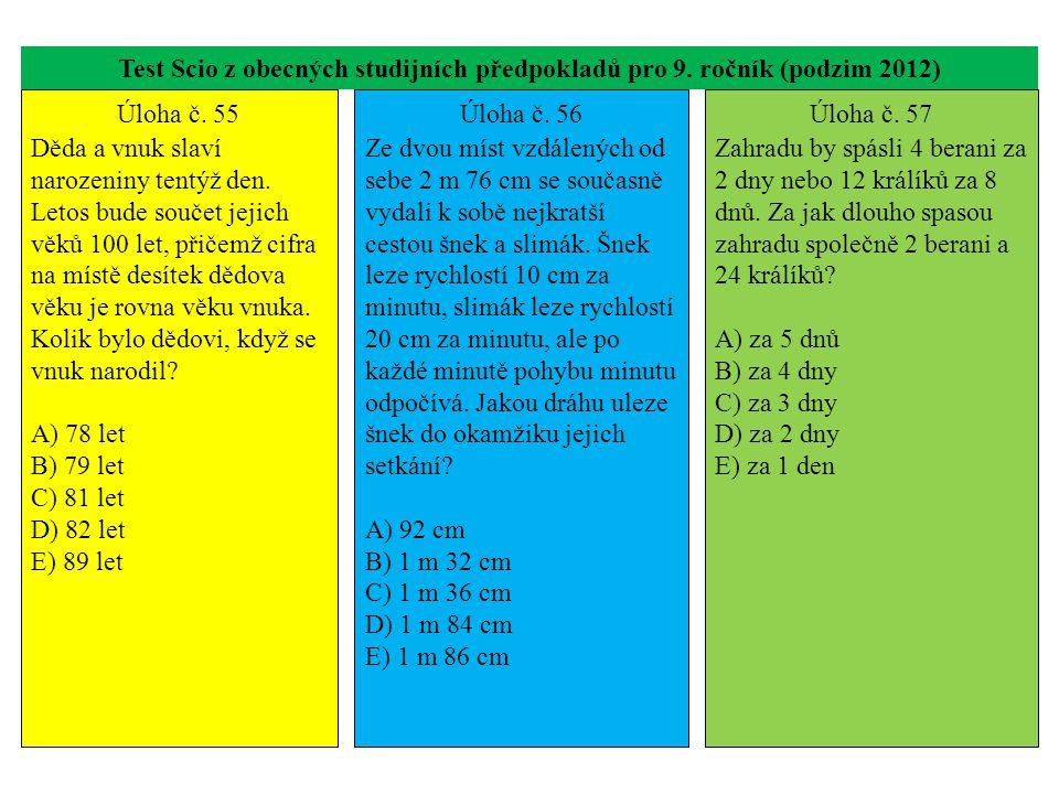 Test Scio z obecných studijních předpokladů pro 9. ročník (podzim 2012) Úloha č. 55 Děda a vnuk slaví narozeniny tentýž den. Letos bude součet jejich