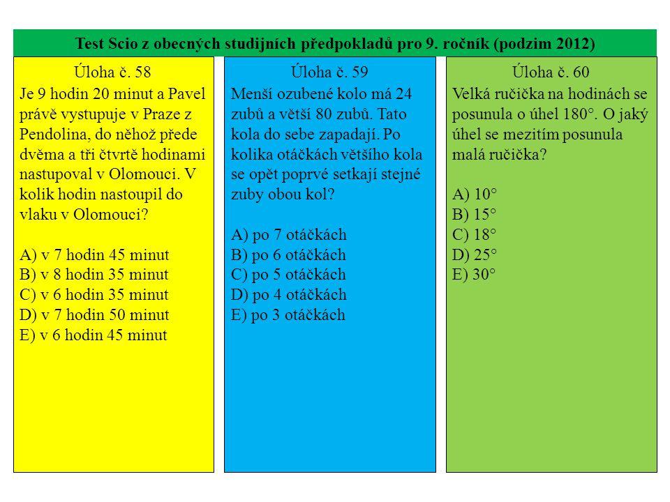 Test Scio z obecných studijních předpokladů pro 9. ročník (podzim 2012) Úloha č. 58 Je 9 hodin 20 minut a Pavel právě vystupuje v Praze z Pendolina, d