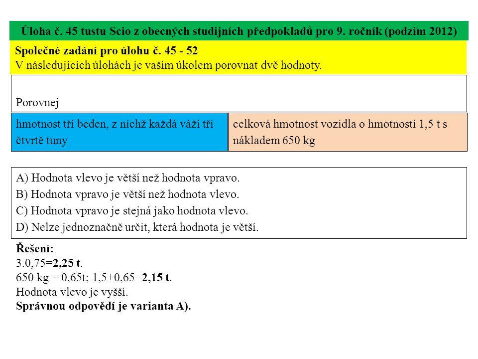 Úloha č.46 testu Scio z obecných studijních předpokladů pro 9.