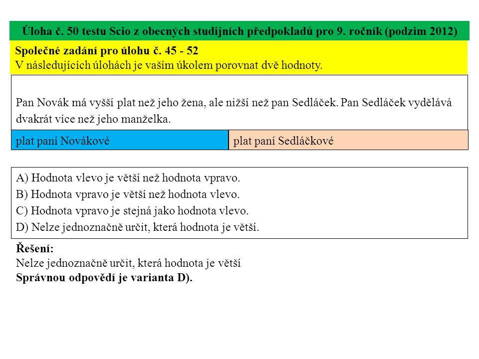 Úloha č. 50 testu Scio z obecných studijních předpokladů pro 9. ročník (podzim 2012) Společné zadání pro úlohu č. 45 - 52 V následujících úlohách je v
