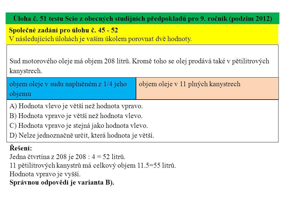 Úloha č.60 testu Scio z obecných studijních předpokladů pro 9.