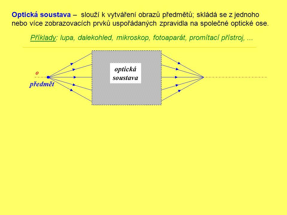 Optická soustava – slouží k vytváření obrazů předmětů; skládá se z jednoho nebo více zobrazovacích prvků uspořádaných zpravidla na společné optické ose.
