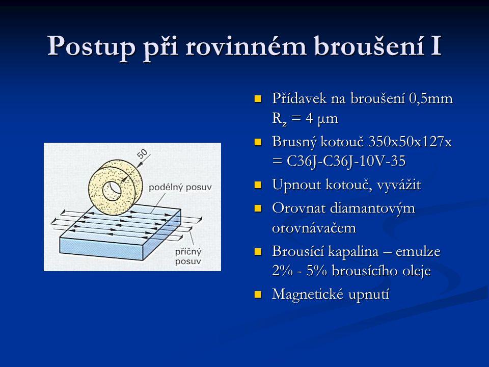 Postup rovinného broušení II Rovinné broušení – parametry Pracovní rychlost v s = 30 m/s Rychlost posuvu v f = 30 m/s Poměr rychlosti ( doporučená hodnoty ρ = 65 ) ( přípustné) Příčný posuv – 1 podélný běh: f = 0,8·50 mm = 40 mm Přísuv: a = 0,05 mm (odbrousíme 10 vrstev) Uvolnění obrobku, odmagnetizování Vizuální kontrola