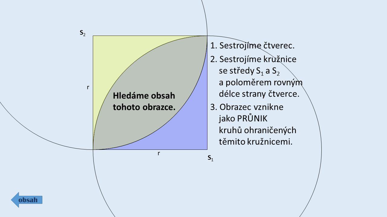 S1S1 r S2S2 r Hledáme obsah tohoto obrazce. 1. Sestrojíme čtverec. 2. Sestrojíme kružnice se středy S 1 a S 2 a poloměrem rovným délce strany čtverce.