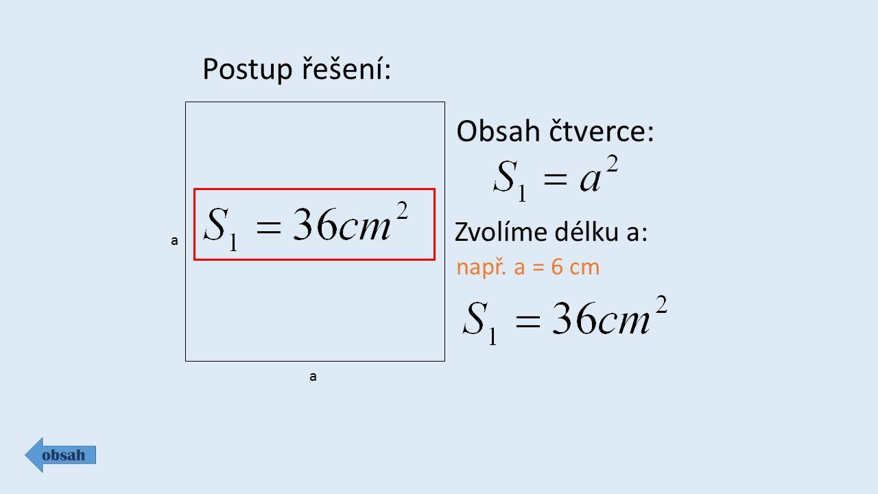 Postup řešení: Obsah čtverce: Zvolíme délku a: např. a = 6 cm a a obsah