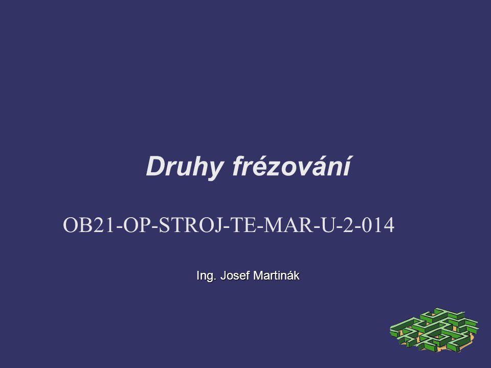 Druhy frézování OB21-OP-STROJ-TE-MAR-U-2-014 Ing. Josef Martinák