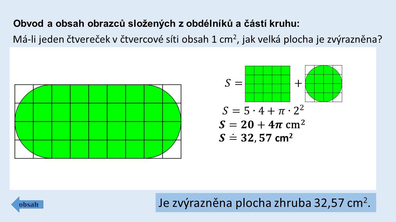 Obvod a obsah obrazců složených z obdélníků a částí kruhu: obsah Má-li jeden čtvereček v čtvercové síti obsah 1 cm 2, jak velká plocha je zvýrazněna?