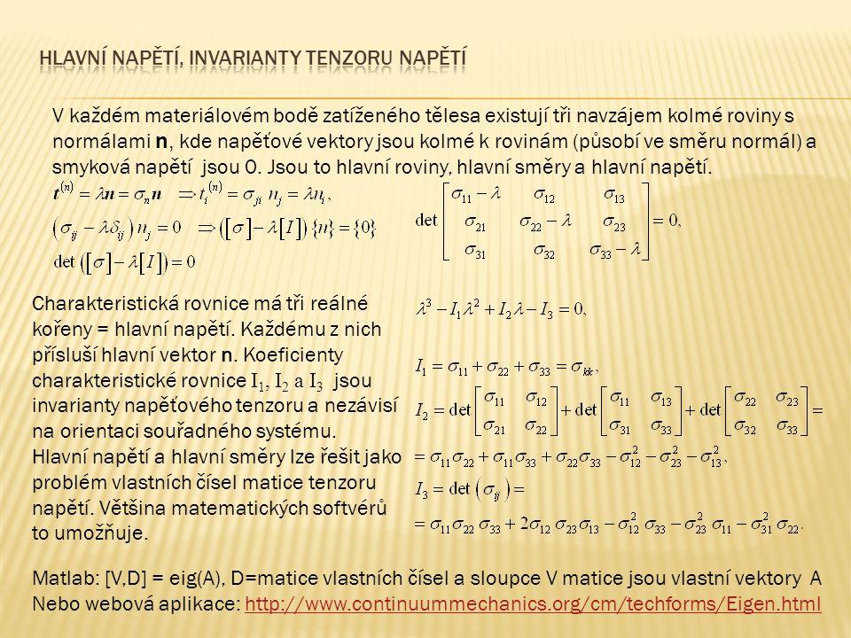 V každém materiálovém bodě zatíženého tělesa existují tři navzájem kolmé roviny s normálami n, kde napěťové vektory jsou kolmé k rovinám (působí ve sm