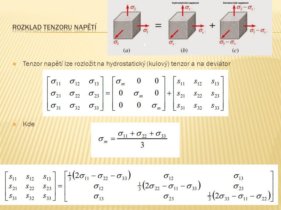  Tenzor napětí lze rozložit na hydrostatický (kulový) tenzor a na deviátor  Kde