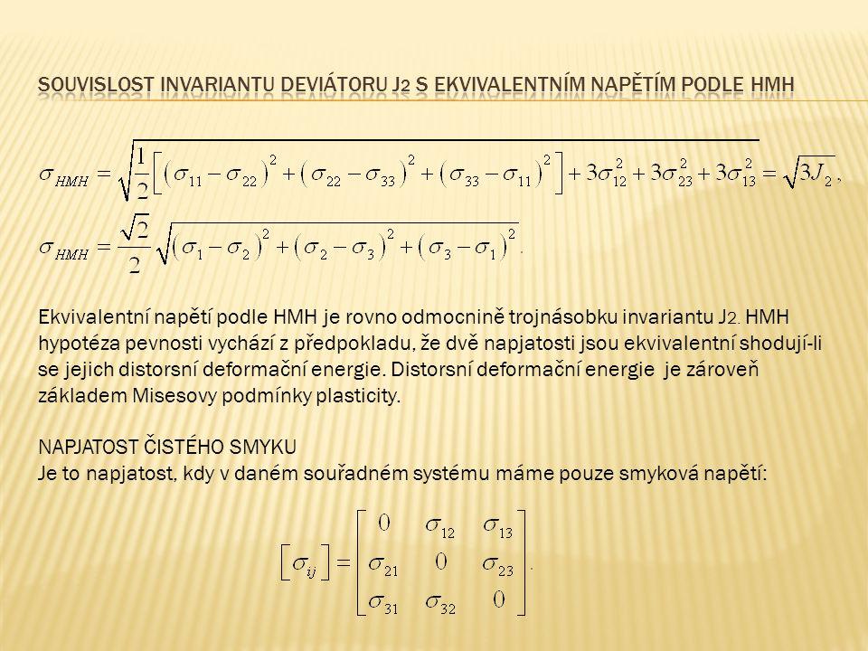 Ekvivalentní napětí podle HMH je rovno odmocnině trojnásobku invariantu J 2. HMH hypotéza pevnosti vychází z předpokladu, že dvě napjatosti jsou ekviv