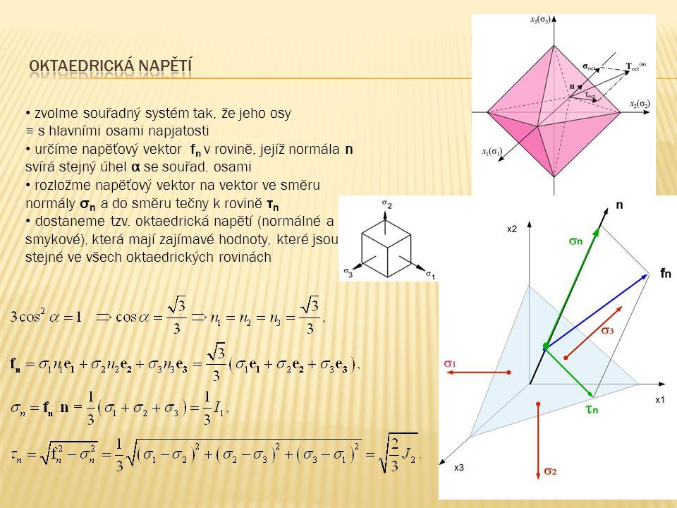 zvolme souřadný systém tak, že jeho osy ≡ s hlavními osami napjatosti určíme napěťový vektor f n v rovině, jejíž normála n svírá stejný úhel α se souř